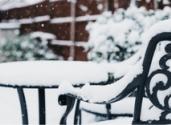 Metal furniture in snow